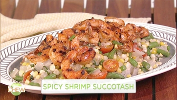 Carla Hall\'s Spicy Shrimp Succotash: Part 1