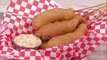 Michael Symon\'s Shrimp Corndogs with Mustard Aioli: Part 1
