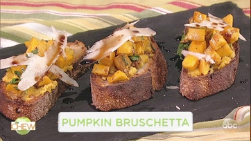 Mario Batali Makes Pumpkin Bruschetta With Michelle Williams: Part 1