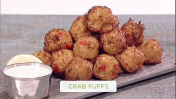 Mario Batali and Carla Hall Make Crab Puffs: Part 1