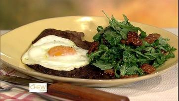 Minute Steak with Fried Egg and Warm Arugula Salad