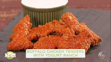 Serena Wolf and Mario Batali Make Buffalo Chicken Tenders with Yogurt Ranch: Part 1