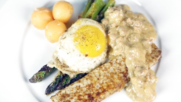 Asparagus Milanese with Apricot Blintz: Part 2