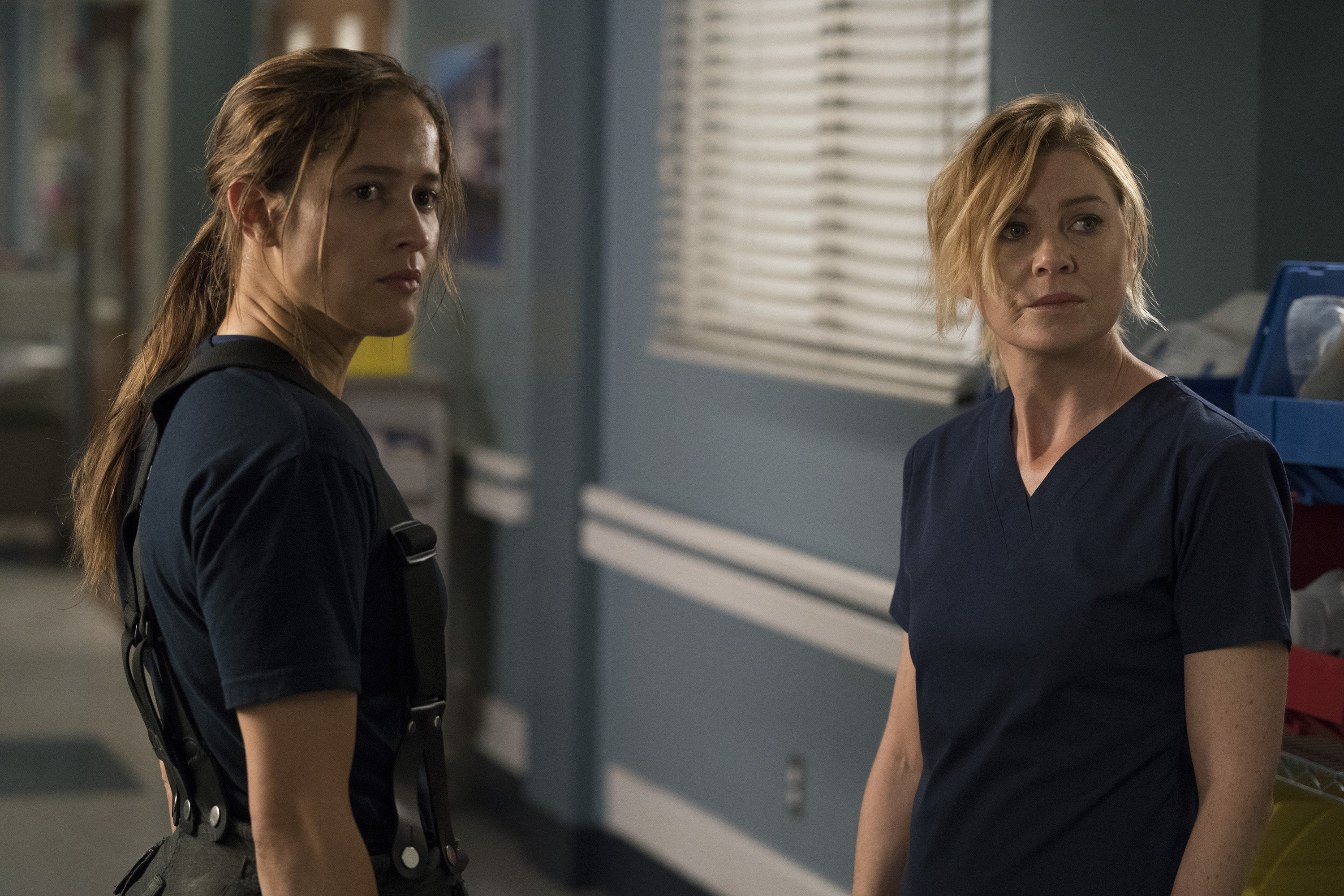 """Station 19's"" Andy Herrera (Jaina Lee Ortiz) and ""Grey's Anatomy's"" Meredith Grey (Ellen Pompeo)"