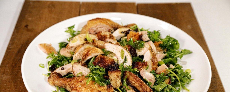 Roast Chicken With Bread Arugula Salad Recipe The Chew Abc Com