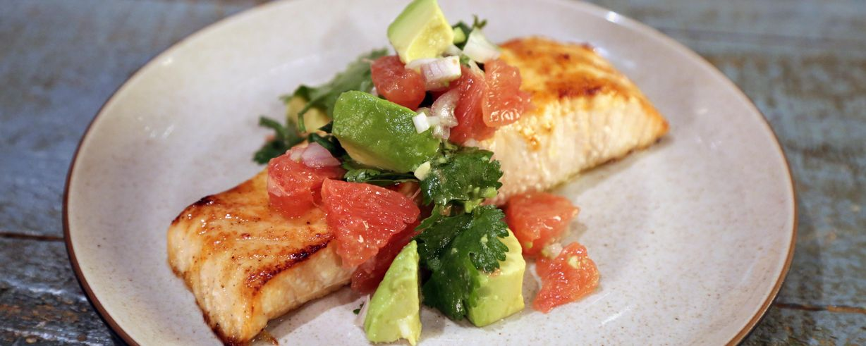 The Chew   Easy Broiled Salmon with Avocado Grapefruit Salsa