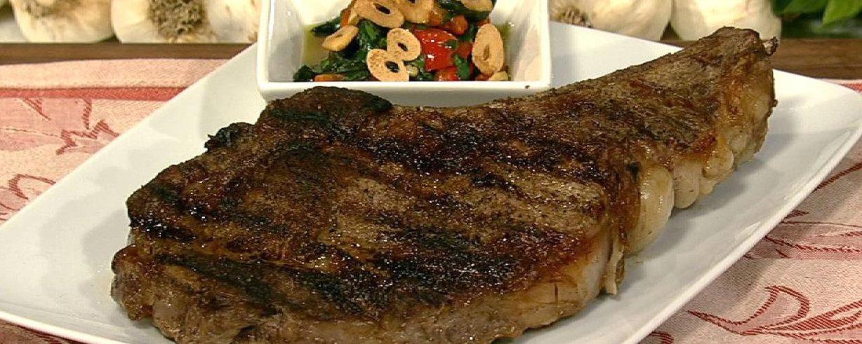 Bobby Flay S Rib Eye Steak With Chipotle Honey Glaze And Roasted
