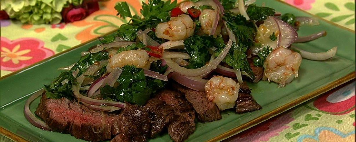 Skirt Steak With Rock Shrimp Salad Recipe The Chew Abc Com