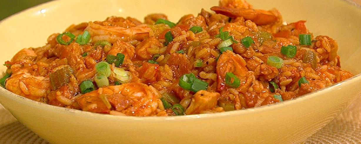 John Beshs Shrimp Chicken And Andouille Jambalaya Recipe The
