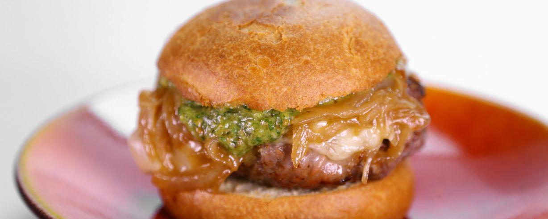 The Chew | Lorin's Prosciutto Wrapped Gruyere Burger with Pesto Aioli