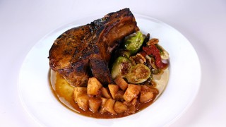 Pork Chops With Apple Mash Roasted Brussels Sprouts Recipe The